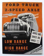 Vintage ©1946 FORD TRUCKS advertising car brochure, 2-speed axle