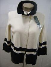 Ralph Lauren Womens Sweater Small Cardigan 1 Button Color Block Cream Black $149