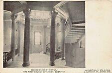 BOSTON MA~FIRST CHURCH OF CHRIST SCIENTIST~SECOND FLOOR STAIRWAY 1900s POSTCARD