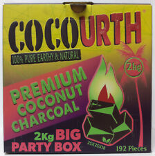 CocoUrth 192 Pcs Natural Coconut Hookah Charcoal Coal (FLATS) 2kg