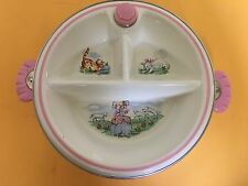 Vintage Ceramic Little Bo Peep Divided Baby Warming Serving Dish Plate