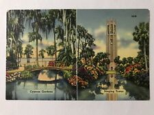 Cypress Gardens Singing Tower Florida Beauty Spots Vintage Linen Postcard