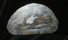 Painted cornish slate otter themed coaster