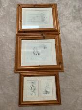 More details for bundle of 3 x winnie the pooh sketch print framed ernest howard shepard disney