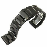 High Quality 18/20/22/24mm Black Solid Stainless Steel Folding Clasp Watch Band