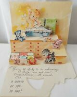 Vintage 1950's Artistic New Baby Congratulations 3D Pop-Up Greeting Card Unused
