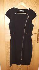 Karen Millen Negro Vestido De Militar Cremallera asymmetic UK 12