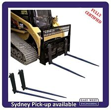 SKID STEER QUICKHITCH CARRIAGE with BALE SPEARS (hay spikes) and loadguard.