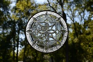 """Handcrafted All Clear stained glass Round Beveled window panel 21"""" Dia"""