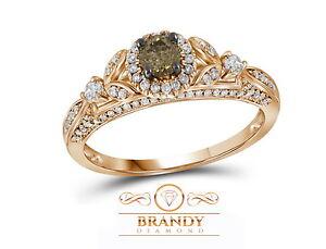 Brandy Diamond Chocolate Brown 14K Rose Gold Beautiful Elegant Bridal Ring .77 C