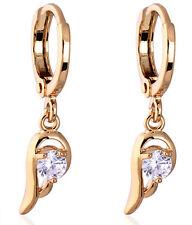 18 k Gold Plated Earrings for Small Girls Women White Drop Zircons Hoops  E725