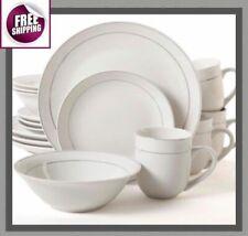 Set Dinnerware 16  32 Pcs Dishes Plate Bowl Mug Modern Classic Vintage White New