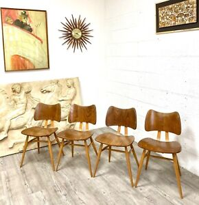 A Set of 4 Original Ercol Model 401 Butterfly Dining Chairs Dated 1956