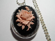 CAMEO LOCKET DUSKY PINK ON BLACK ROSE