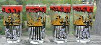 "Set of 4 Vintage Hazel Atlas ""Gay 90"" Pattern Glassware Highballs with Bar Scene"