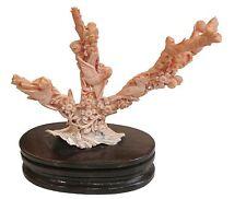 Statua Rami in Corallo Rosa con Uccelli e Fiori