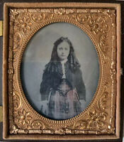 Ambrotype Beautiful Victorian Young Girl~Long Curls Tinted Dress~Union Case🌼