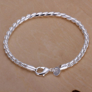 BRACELETS Silver Plated 925 Trendy Charms Jewellery Love 3MM Small Twisted Rope