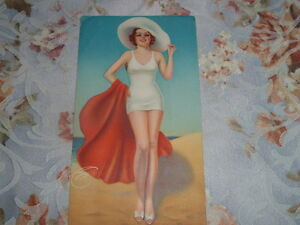 Vintage PIN-UP Bright Colors REDHEAD IN WHITE SWIMSUIT ON BEACH Red Blanket