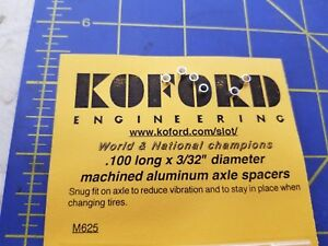 """Koford M625 .100 Long x 3/32"""" Machined Aluminum Axle Spacers Mid America 1/24"""
