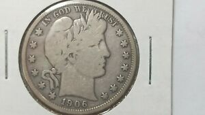 1906 D Barber 1/2 dollar 50 cents silver coin