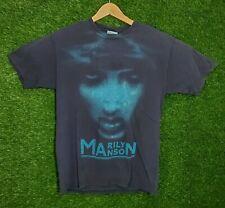 Vtg Marilyn Manson Shirt 2000 Rock Band Graphic Tee Huge Aop Face M Black Y2K