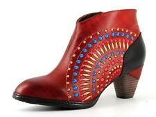L'Artiste Rhapsody Ladies UK 5 EU 38 Red Leather Embroidered Heeled Ankle Boots