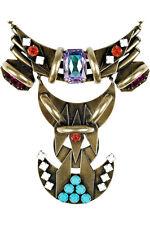 DANNIJO Aged Silver Tone Multi-Color Crystal Jewel COTA Bib Statement Necklace