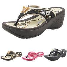 Women Butterfly Floral Flat & Platform Wedge Flip Flops -Gold Pigeon Shoes 8160W