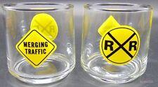Traffic Signs Railroad Crossing Merging Tumbler Water Juice Glass