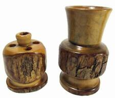 Pen Holder Vase Handcrafted Fruit Wood Bark Set 2