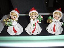 3 Vintage Napco Christmas Snowflake Girls figurines #X-8387 Napcoware JAPAN