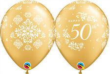 Party Supplies Gold 50th Wedding Anniversary Damask 28cm Balloons PK 10