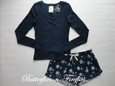 NWT GILLY HICKS for HOLLISTER by Abercrombie 2pc Pajama Set Tee & Shorts Navy M