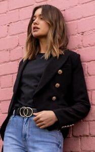 Decjuba Black Carly Black Blazer, feature gold buttons, RRP$169.95, size 12