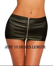 "HOT & SEXY JUST 10"" BLACK LEATHER LOOK FULL ZIP MICRO MINI SKIRT SIZE 4 TO 24"
