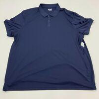 Basic Editions Polo Shirt Mens 4XLT Blue Polyester Short Sleeve Casual Golf