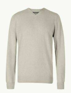 Mens M&S Collection V Neck Jumper Pure Cotton Sizes XL B156