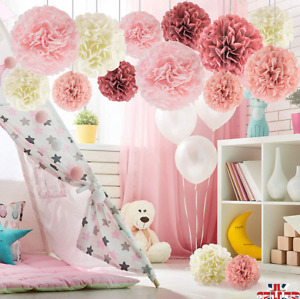 5/10PCS Tissue Paper Pompoms Pom Poms Flower Balls Hanging Wedding Party DIY UK