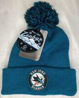 San Jose Sharks Stocking Cap Winter Knit Hat Beanie Cuff w/Pom Circle NHL