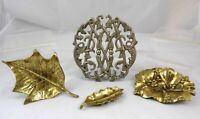 Lot of 4 Virginia Metalcrafters Poinsettia Mistletoe Holly Trinket Dishes Trivet