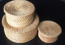 Set of 7 handmade rattan boxes