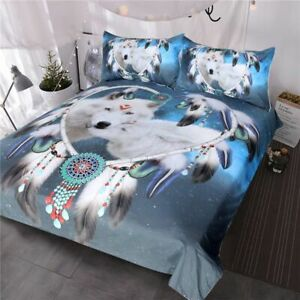 Wolves Bedding Set Native American Wolf Duvet Cover Tribal Animal Dreamcatcher