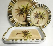 A 12-pc Dinner Set Tropical Palm Trees Dinner & Salad Plates, Trays, Glasses