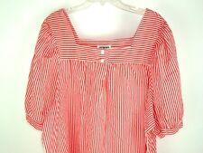 Vtg Yakko Red Pin Striped Pullover Peasant Blouse Free SZ Plus SZ Boho Hippy