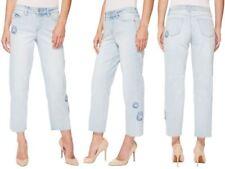 NYDJ Jenna Straight Ankle Crop Jeans Sz 00 High Rise EU 28 Distressed NEW
