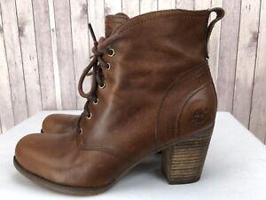 Timberland Women Brown Leather Block Heel Lace Up Booties US 9.5 / EU 41