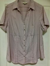 AUTOGRAPH: Dusty pink striped short sleeve blouse Size 16
