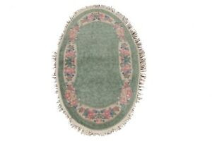 Vintage Vegetable Dye Floral Art Deco Chinese Area Rug Hand-knotted 3'x5' Oval