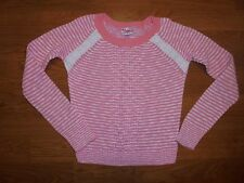 Justice pinkish orange & white striped sweater shirt with crochet trim girls 10